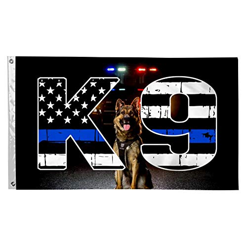 SAMMALIFLAG Police K9 Thin Blue Line 3x5 Flags Banner 3'x5' FT with Brass Grommets for President 2020 Home/Outdoor