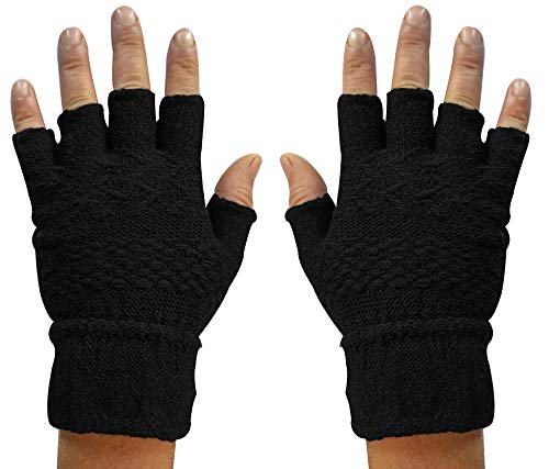 ShopOlica Warm Finger Cut Winter Hand Gloves   Knitted Comfortable Fingerless Gloves Thermal for Men Women Girls Unisex Warm Fabric - (Black, Free Size)