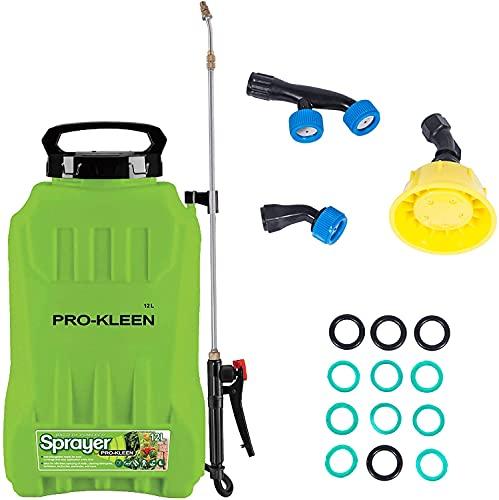Pro-Kleen Garden Pressure Sprayer Li-ion Battery Powered Backpack Knapsack - Weed Killer, Water, Garden Chemicals, Pesticides, Herbicides, Insecticides, Fungicides - 4 Spray Heads (12 Litre)