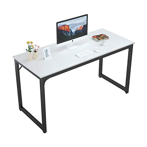 """Foxemart Computer Desk 55"""" Modern Sturdy Office Desk 55 Inch PC Laptop Notebook Study Writing Table for Home Office Workstation, White"""
