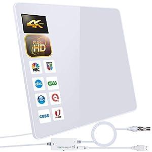 2020 Newest Antena de TV,Antena de TV Digital para Interiores de Alcance de 280KM con Amplificador Inteligente de Señal, Adecuada para Canales de TV Gratis 1080P 4K, con Cable Coaxial de 5M