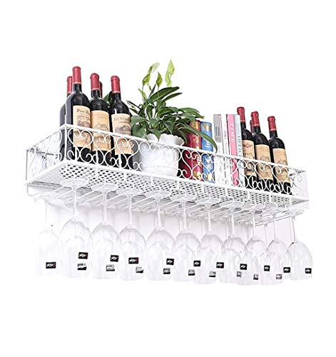 ZWJ-Baldas flotantes Soporte for Botellas de Vino bastidores Ledge revés Copa de Vino en Rack Rack cáliz de UVA (Blanco) Estantería de Almacenamiento Repisa Flotante (Size : 80cm)