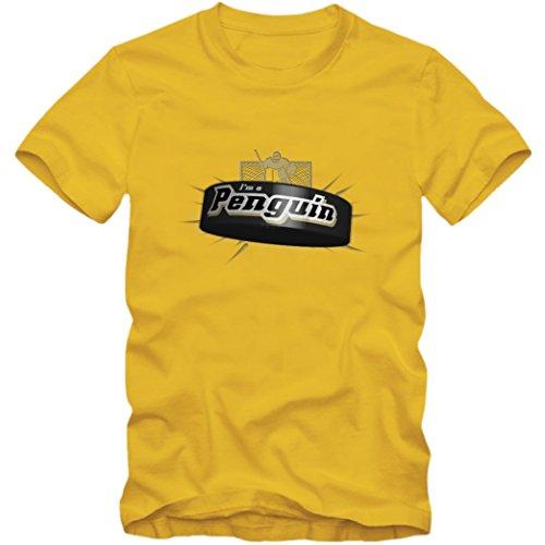 I'm a Penguin #2 T-Shirt |Herren | Eishockey | Play Offs | Fanshirt, Farbe:Gelb (Gold L190);Größe:XXL