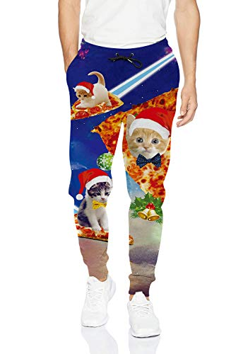 Uideazone Men Women Print Christmas Pizza Cat Joggers Pants Cool Trousers Sweatpants Chrsitmas Cat 1 Large