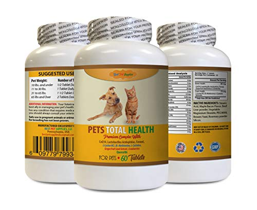 BEST PET SUPPLIES LLC Dog Joint Supplement - Pets Premium Total Health - Dogs and Cats - PLATNIUM Formula - Coat Mouth Bone Immune Support - Dog Vitamins for Skin - 60 Tablets (1 Bottle)