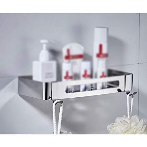 Wall Shelf Floating Shelf Wandplank, hoekdouche-organisator, wandmontage, klevende roestvrijstalen haken, voor keuken, badkamer, kantoor, badkamerrek, bergruimte, wandmontage voor toilet keuken zwevers B