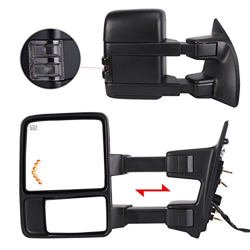 LSAILON Tow Mirrors Towing Mirrors Fit for 2001-2005 Ford Excursion 1999-2007 Ford F250//F350//F450//F550 Super Duty With Left and Right Side Power Control Heated With Converter Plug