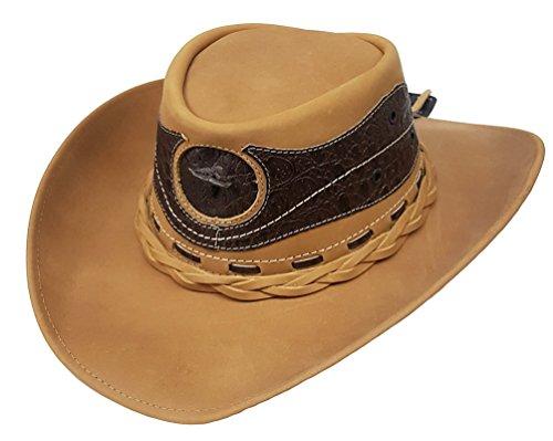 Modestone Unisex Leather Chapeaux Cowboy Crocodile Skin Pattern Applique Tan