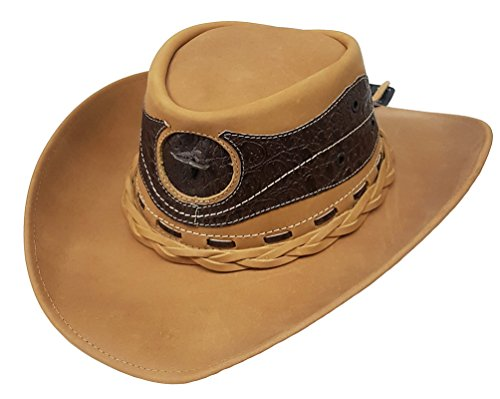Modestone Unisex Leather Chapeaux Cowboy Crocodile Skin Pattern Applique Tan