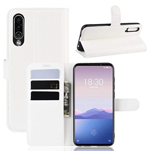 Guran PU Ledertasche Hülle für Meizu 16XS Smartphone Flip Cover Kartenfach Wallet und Stent-Funktions Handyhülle Business Style Etui - Weiß