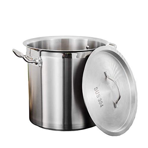 Cazos de Cocina, Ollas de sopa con tapa, olla de acero inoxidable 201, olla de sopa espesa comercial / doméstica con tapa para estufa de gas / cocina de inducción (25-50 cm) (tamaño: 30 cm)