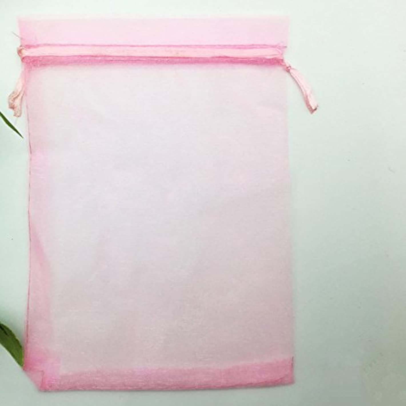 3.94x5.91 Inches Sheer Drawstring Organza Jewelry Pouches Wedding Party Christmas Favor Gift Bags. (Pink,50)