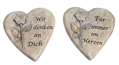 2er Set Grabherz Wir Denken an Dich/Für Immer im Herzen Grabschmuck Herz Grab