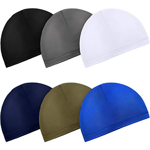 Boao 6 Pieces Cycling Skull Cap Running Sweat Wicking Hats Helmet Liner for Men and Women Fitting Running Jogging Exercise