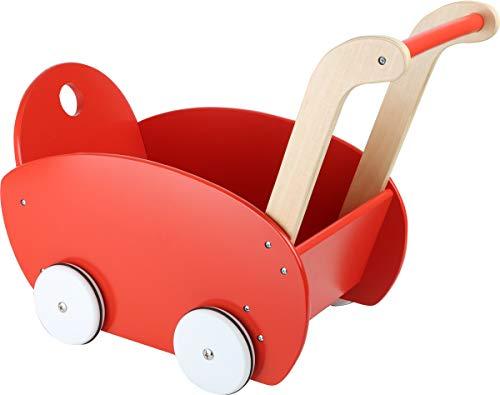 Small Foot 10025 Puppenwagen aus Holz, solide Ausführung, Kindergartenstärke, gummierte Leiselaufräder