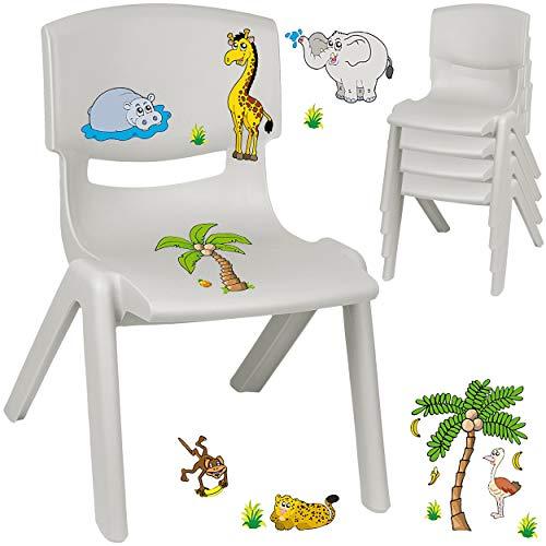 alles-meine.de GmbH Kinderstuhl / Stuhl - Motivwahl - grau - Silber + Sticker - Zootiere & Giraffe - inkl. Name - Plastik - bis 100 kg belastbar / kippsicher - für INNEN & AUßEN ..