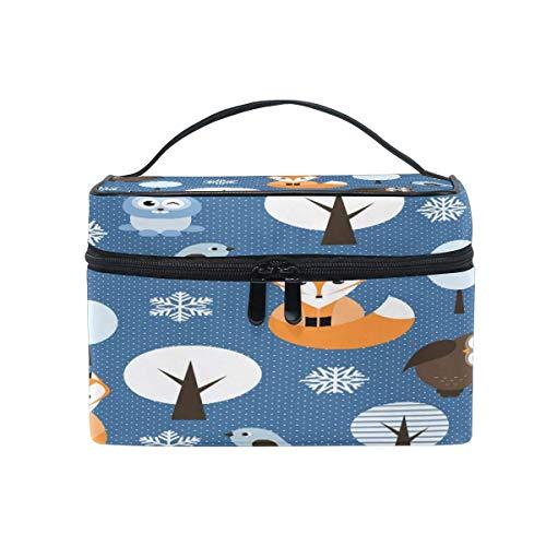 Borsa per il trucco, Winter Fox Bird Portable Travel Case Grande Stampa Cosmetici Organizzatore Scomparti per Ragazze Donne Lady