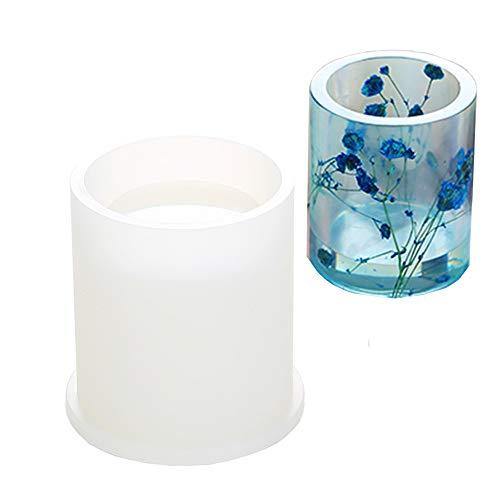 Moldes de silicona de resina Velidy DIY Art Moldes de silicona redondos, cuadrados, hexagonales para hormigón, posavasos, macetas, ceniceros, bolígrafos, portavelas (redondo)