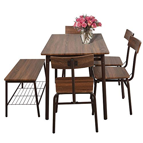LUCKYERMORE 6 Piece Dining Room Table Set with Bench Compact Wooden Kitchen Table and 5 Chairs with Metal Legs Dinette Sets