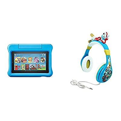 Fire 7 Kids Edition Tablet (Blue) + Toy Story Headphones (Forky) from