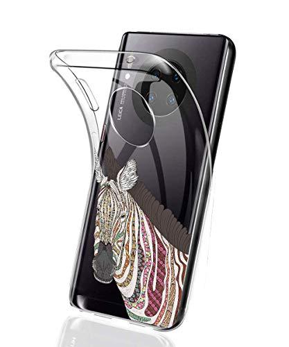 Oihxse Mode Case Compatible pour Xiaomi Mi CC9e/Xiaomi Mi A3 Coque Transparent Silicone Gel TPU Bumper Animal Motif Dessin Cover Ultra Mince Crystal Clear Antichoc Protection Couverture,Cheval