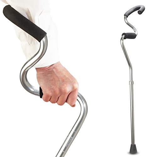 StrongArm Comfort Cane + Lightweight Adjustable Walking Cane + Stabilizes Wrist & Provides Extra Support & Stability + Ergonomic Hand & Forearm Grip + FSA/HSA Eligible (Titanium)