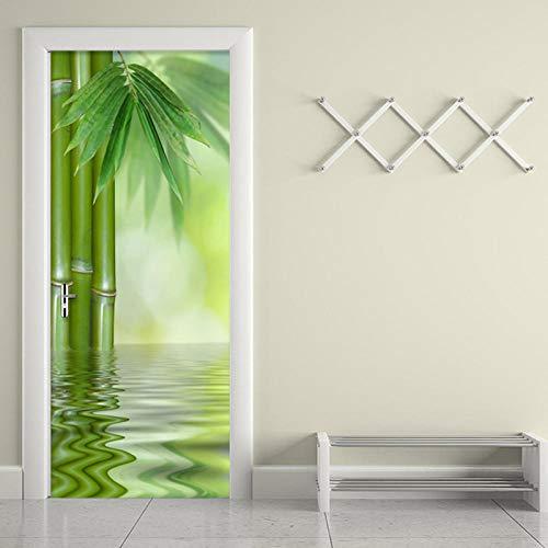 FGPXCD Adhesivos para Puertas Mural De Puerta 3D Paisaje De Bosque De Bambú Verde Chino 3D Impresión De Vinilo De La Puerta De La Habitación Papel Tapiz Mural Pegatinas Carteles Arte Decor 77X200Cm