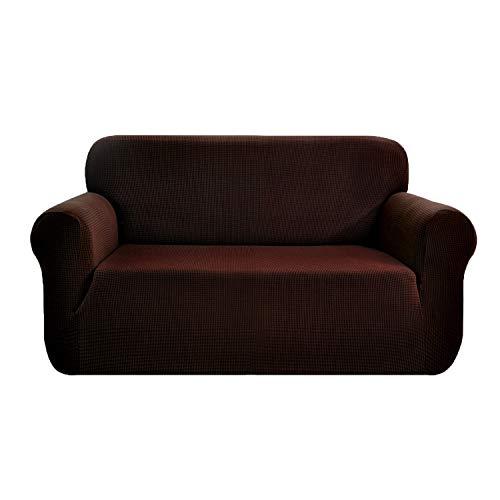 E EBETA Stretch Sofa hoes Sofahoezen, Jacquard Sofahoezen voor bank, fauteuil 2-zits (Bruin, 145-185 cm)