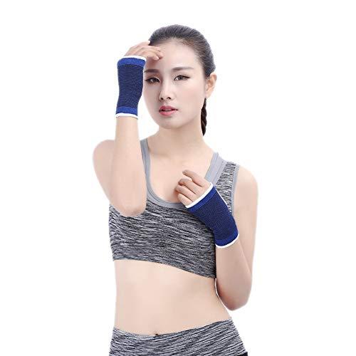 Wsxxn Azul de punto de algodón poliéster transpirable protector solar fuerte absorción del sudor unisex Guardia palma Baloncesto Badminton calentamiento for el tenis vendaje vendaje de pulsera deporti