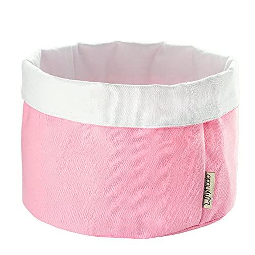 myHodo Cesta de Almacenamiento de Tela para Ropa de Bebé, 100% Algodón, para guardar Pañales en el Cambiador, Cesta Organizadora para Cambiador, para la Habitación de los Niños (20 cm, rosa) …