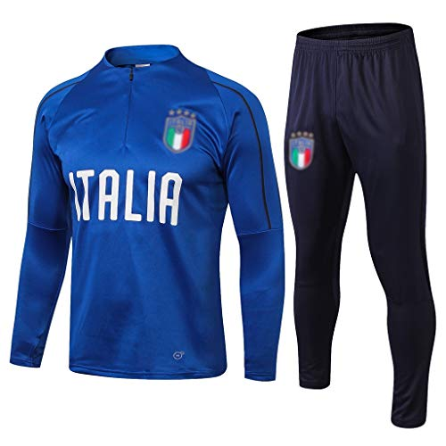 No-brand Italien Football Club langärmelige Sport Blau atmungsaktiv Fußball-Trainingsanzug-qqqq059 (Color : Blue, Size : M)