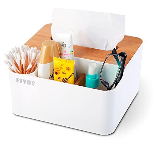 多機能ティッシュケースリモコンラック取り外し可能な ティッシュボックス 化粧品収納 小物入れ 分格デザイン日本と韓国 おしゃれ 卓上 多機能収納 (ホワイト)