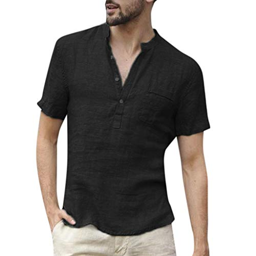 SSMENG Leinenshirt Herren Tshirts Sommer Kurzarm Henley V-Ausschnitt Baumwolle T Shirts Tops Mode Freizeit Hemden(Schwarz,L)