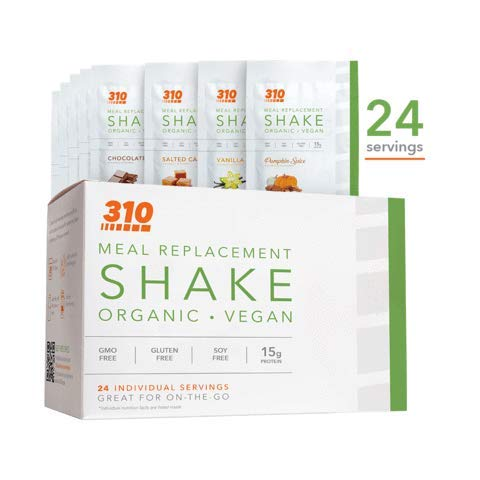 24 CT Organic Shake Box - Vegan Plant Protein Powder and Meal Replacement Shake - By 310 Nutrition - Gluten, Dairy and Soy Free - 0g of Sugar | Keto and Paleo Friendly (Variety w/ Pumpkin)