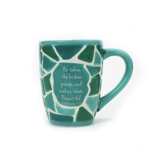 Broken Pieces Ecclesiastes 3:11 Teal Green 16 oz. Ceramic Stoneware Coffee Mug