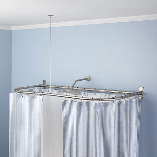 """Naiture 54"""" L X 30"""" W Stainless Steel Shower Curtain Rod D Shaped Brushed Nickel Finish"""