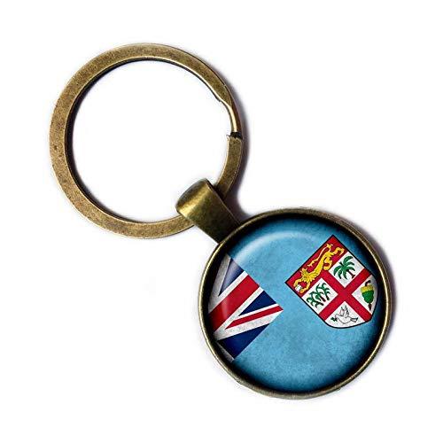 Schlüsselanhänger mit kleiner Elf-Fidschi-Flagge, handgefertigt