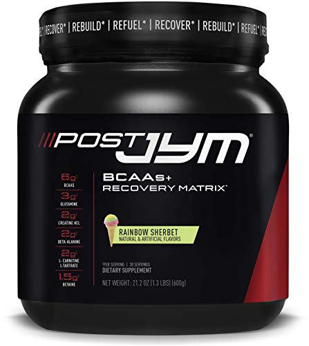 Post JYM Active Matrix - Post-Workout with BCAAs, Glutamine, Creatine HCL, Beta-Alanine, and More | JYM Supplement Science | Rainbow Sherbert Flavor, 30 Servings, 21.2 oz.