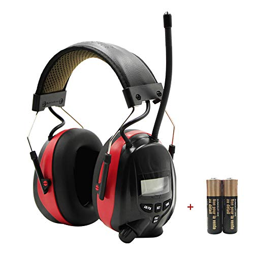 FM Radio Headphone with Digital Display, Safety Ear Muffs,Noise Reduction AM Radio Headphones,Ear Hearing Protection for Patio Lawn Mowing