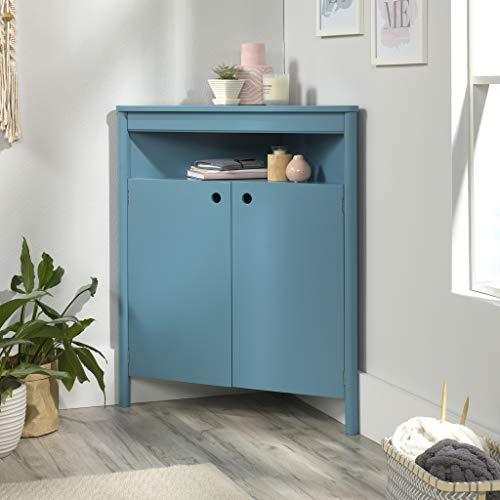 "Sauder Anda Norr Corner Storage Cabinet, L: 32.68"" x W: 17.72"" x H: 38.11"", Sea Blue Finish"