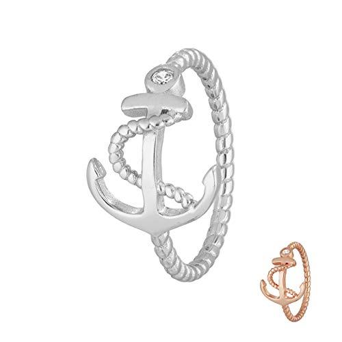 Treuheld® | Anker Ring aus 925 Sterling Silver | Silber mit Zirkonia Kristall Steinen | Ringgröße 62 | Größe Schiffsanker: 12 x 15mm | Damen