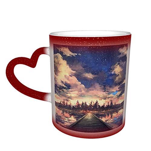 夕焼 マグカップ 色が変わるカップ お洒落 ジ温め 耐久性 安全で健康 セラミックコーヒーマグクリエイティブ 面白いユーモア ママ パパ 友人 ギフト 赤