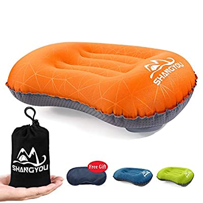 Ultralight Inflatable Camping Pillows - Compressible Travel Backpacking Air Pillow - Fast Inflatable by Pressing - Ergonomic Neck and Lumbar Support - Perfect for Hiking,Travel,Sleeping