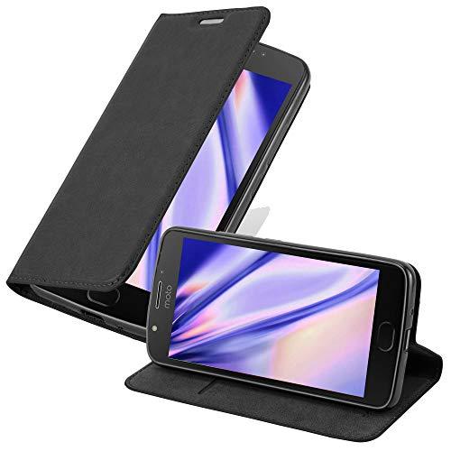 Cadorabo Hülle für Motorola Moto E4 - Hülle in Nacht SCHWARZ – Handyhülle mit Magnetverschluss, Standfunktion & Kartenfach - Case Cover Schutzhülle Etui Tasche Book Klapp Style