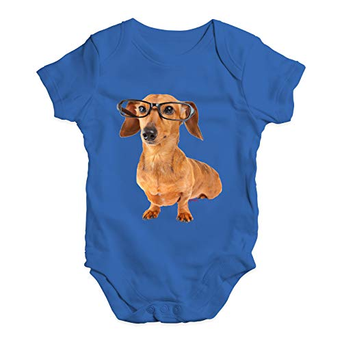 Twisted Envy Funny Bodysuits Baby Grow Onesie Doxie Dachshund Hipster Dog Royal Blue 0-3 Months