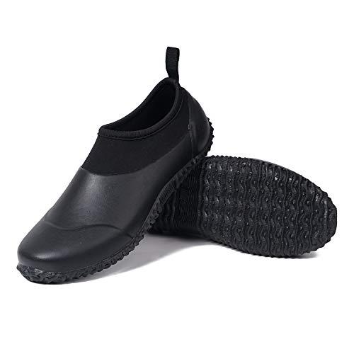 Unisex Garden Shoes Ankle Rain Boots Waterproof Mud Muck Rubber Slip-On Shoes for Women Men Outdoor Black