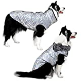 Dog Jacket - Cozy Snow-Proof Wind-Proof Holographic Winter Dog Coat with Adjustable Furry Collar, Pet Vest Reflective Dog Jackets for Small Medium Large Dogs, Sturdy Leash D Ring for Walking(HS5XL)