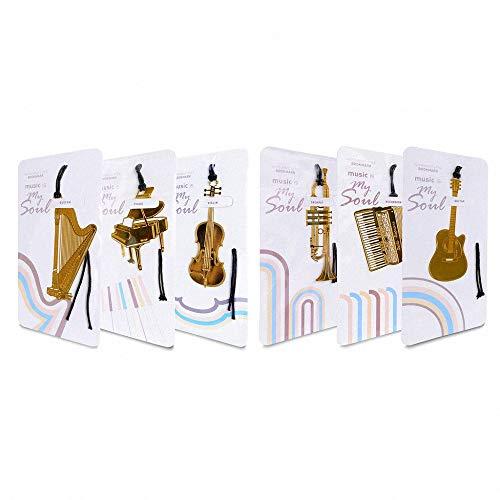 Amupper - 6 marque-pages en métal en forme dinstruments de musique -En acier inoxydable plaqué or 18K
