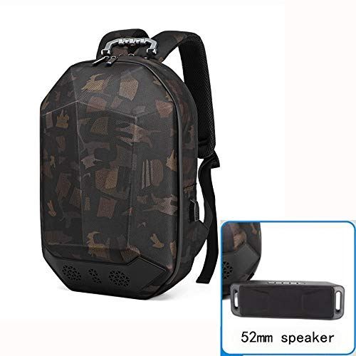 HJG Bluetooth Lautsprecher Rucksack mit Lautsprecher & Subwoofer USB-Ladeanschluss Dreidimensionales Tarnung Bookbag Passend für 15,6