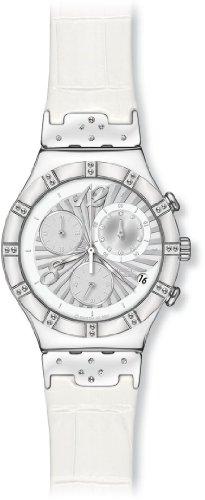 Swatch Irony Chrono - Reloj Unisex de Cuarzo, Correa de Piel Color Blanco (con cronómetro)
